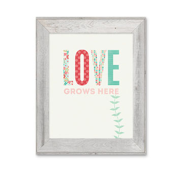 Love Grows Here Family Home Print Family Typography Art Love Grows Here Nursery Art Print Family Love Floral Pink Pastel Print Wedding Gift