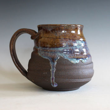 Pottery Coffee Mug, 18 oz, unique coffee mug, handmade ceramic cup, handthrown mug, stoneware mug, wheel thrown pottery mug, ceramics