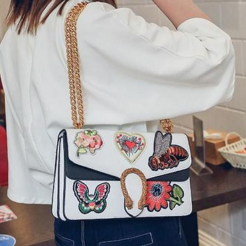 Popular Ladies Contrast Color Embroidery Vintage Small Square Bag Metal Chain Satchel Shoulder Bag Crossbody White