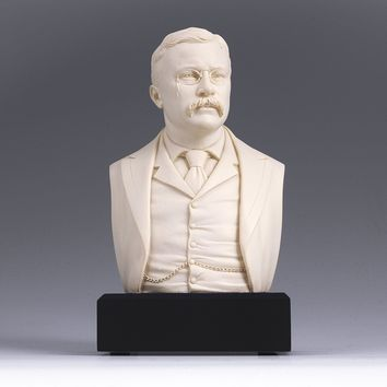 6-inch High Theodore Roosevelt Bust Statue Sculpture in White
