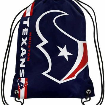 2017 New Fashion Houston Texans Drawstring Backpack Digital Printing Knitted Polyester Custom Football Backpack
