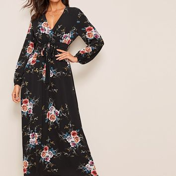 Floral Print Plunge Neck Wrap Knotted Dress