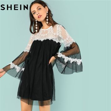 SHEIN Flounce Sleeve O-Neck White Lace Trim Black Mesh Girls Loose Mini Dresses 2018 Casual Going Out With Lining Short Dress
