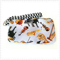 Orchestra Instruments Wristlet, Zipper Pouch, or Coin Purse