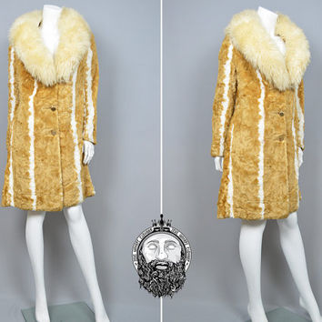 Vintage 70s Glamour Faux Fur Coat Womens Winter Coat Shearling Collar Sheepskin Striped Fur Blonde Fur Hippie Boho Russian Princess Shaggy