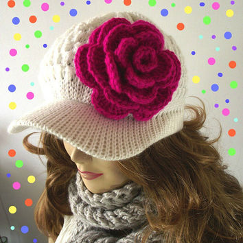 Newsboy Hat KNITTING PATTERN - Penélope Newsboy Knitted Hat with Crochet flower - Crochet Pattern
