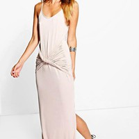 Lucy Strappy Knot Front Maxi Dress | Boohoo