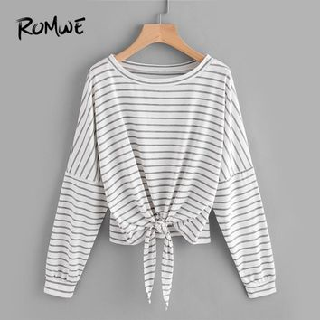 ROMWE Grey Knot Batwing Sleeve Striped Tie Front Drop Shoulder Tee Women Casual Spring Autumn Long Sleeve Tops Ladies T-Shirt