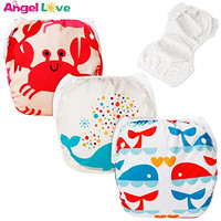 Baby Swim Diapers(Pack of 3), ANGEL LOVE Baby 3PCS Pack Cloth Swimming Diaper, Potty Training Pants, Reusable Washable And Adjustable, Fit babies 0-2 Years, All in one size (SWD02-04-14)