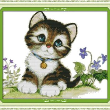 Kitten Cat Animal DMC Cross Stitch Kits 14CT Canvas 11CT Accurate Printed Embroidery DIY Handmade Needle Work Home Decor Set Art