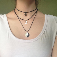 Black Choker Moon Charm Necklace