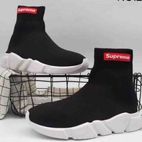 "Balenciaga & ""Supreme"" Co-brand High Top Fashion Women's Casual Elastic Sneakers F-A36H-MY NO.2"