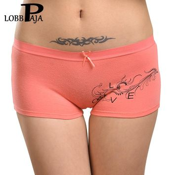 LOBBPAJA Brand 6PCS/LOT Woman Cotton Underwear Women Girls Shorts Boxers Ladies Panties Sexy Floral Boyshort Knickers for Women