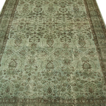 Handmade Overdyed Turkish Carpet Green  - Vintage Turkish Rug- (174 X 262 cm)(5,7 ft X 8,5 ft)