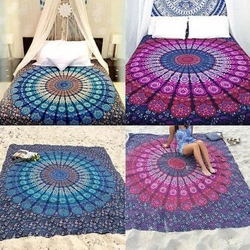 Indian Mandala Yoga Mat or Wall Hanging Boho Beach Mat