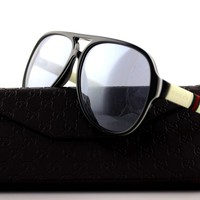 RARE NEW Authentic GUCCI Black White Ice Mens Aviator Sunglasses GG 1065/S 4UQ3R
