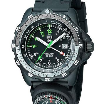 Luminox Mens Recon Navy SPC - Black, Green & White Dial - PU Strap with Compass
