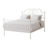 LEIRVIK Bed frame with slatted bed base - white - 140x200 cm - IKEA