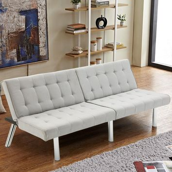 Giantex Modern Living Room Furniture Split Back Futon Sofa Bed Convertible Couch Bed Recliner Sleeper with Chrome Legs HW56718GR