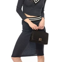 Grey Elastic Waist Knitted Pencil Skirt