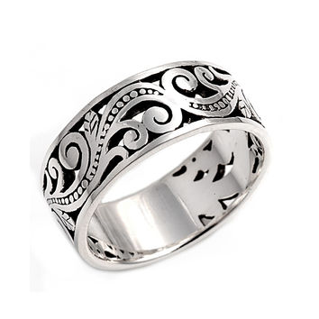 925 Sterling Silver Classic Filigree 10MM Ring