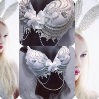 White Bunny Outfit: rave outfit, edm, edc, halloween, costume, festival