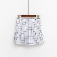 2017 Women's Kawaii AA High Waist Plaid Pleated Skirt Female British Preppy Retro Style Harajuku Cute Skirts For Women