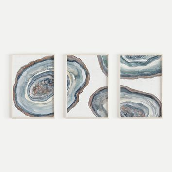 Agate Mineral Slices Painting Triptych Wall Art Print or Canvas