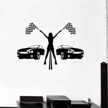 Vinyl Wall Decal Racing Girl Cars Races Garage Art Decor Stickers Mural (ig5247)