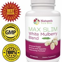 MAX SLIM Pure White Mulberry Extract 500mg (Best Blend - 90 capsules) with Garcinia Cambogia + Green Coffee Bean + African Mango - Sugar Blocker and Appetite Suppressant Diet Pill - 100% Money Back Guarantee