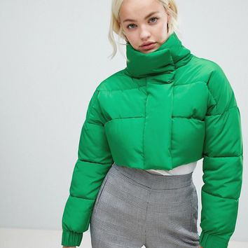 ASOS DESIGN cropped puffer jacket at asos.com