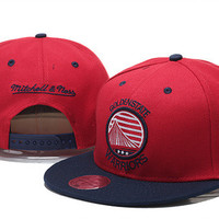 Golden State Warriors Stars and Stripes Logo Mitchell & Ness Red Snap Back Hat