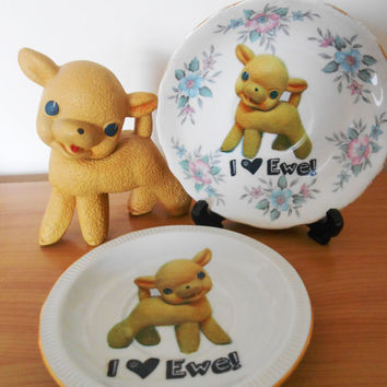 OOAK 'I Love Ewe' Upcycled Decorative Plate- Retro Kitsch- Bone China Saucer- Floral Easter Gift- Rempel Vintage Rubber Toy Lamb