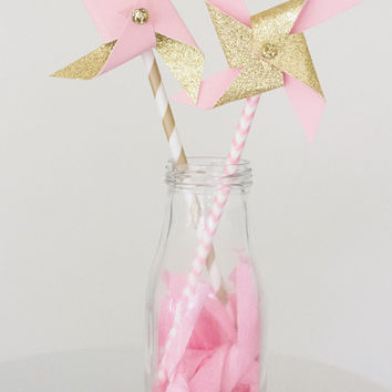Pink and gold birthday, pink and gold first birthday, pink and gold, pinwheels, paper pinwheels, pink pinwheels, childrens birthday