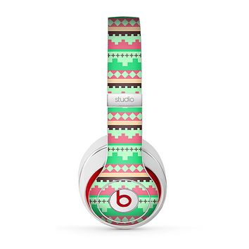 The Lime Green & Coral Tribal Ethic Geometric Pattern Skin for the Beats by Dre Studio (2013+ Version) Headphones