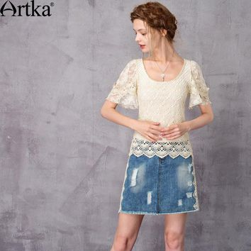 Artka Women's 2017 Summer Beige Lace Patchwork Embroidery Shirt Vintage O-Neck Flare Sleeve Slim Fit All-match Shirt SA11172X