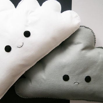 Set of 2 Happy/Sad Kawaii Cloud Cushions Pillow Plush Felt Decoration White Grey Weather