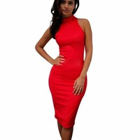 Elegant Turtleneck Bodycon Knee Length Women Pencil Dress