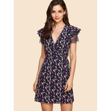 Ruffle Cuff Surplice Neck Botanical Dress