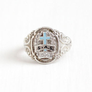 Vintage Sterling Silver Cross S.A.S 1954 Signet Ring - Retro 1950s Size 8 3/4 Blue White Enamel Religious Book Motif School Class Jewelry