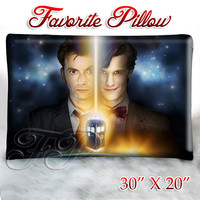 "Tenth Doctor and Eleventh Doctor - Pillow Size 30"" x 20"""