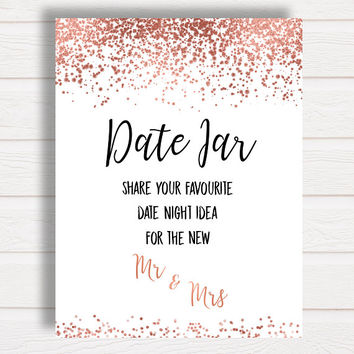 Date Night Jar Sign, Rose Gold Bridal Shower Games, Hen Party Games, Bachelorette Rose Gold Confetti, Printable Games, Wedding Shower