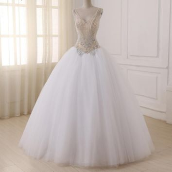 Wedding Dresses V-neck Sleeveless Sparkling Beading Sequins Floor Length Ball Gown Wedding Dress