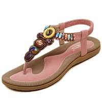 Bohemian Women Sandals Gemstone Beaded Slippers Summer Beach Sandals Women Flip Flops Ladies Flat Sandals Shoes