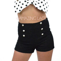 Sails Away High Waist Black Lace Button Sailor Shorts
