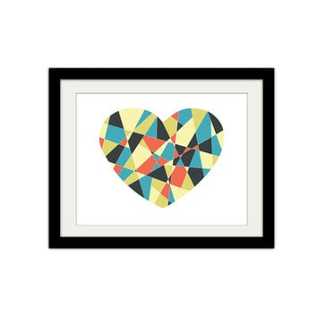 "Geometric Heart. Random Shapes. Heart Print. Triangles. Abstract. Modern and Trendy. 8.5x11"" Print"