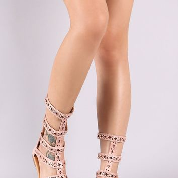Jeweled Suede Strappy Gladiator Flat Sandal