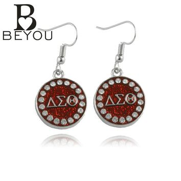 50pair free shipping Newest DST charm   Earring Delta Sigma Theta Sorority bling Round  earring