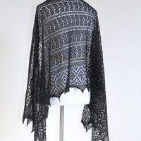Knit black lace shawl, knitted shawl, gift for her
