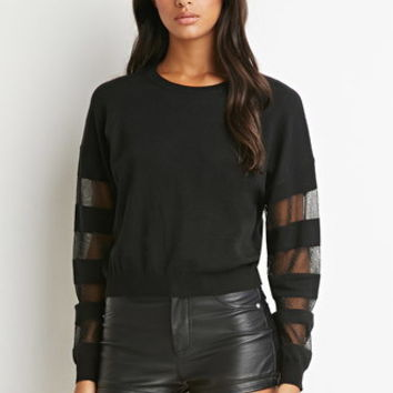 Mesh-Paneled Dolman Sweater